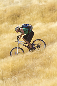 Portugal, Madeira, Mature man riding mountain bike - FFF001233
