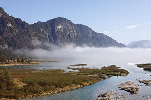 Germany, Bavaria, Upper Bavaria, View of Sylvensteinpeicher with lake in fog - SIEF002054