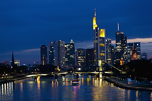 Germany, Frankfurt, View of city at night - FOF003775