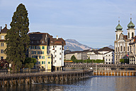 Switzerland, Lucerne, View of old town with church on River Reuss - MSF002473