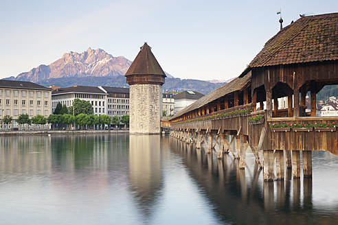 Switzerland, Lucerne, View of Chapel Bridge with water tower - MSF002493