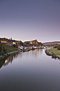 Germany, View of Saarburg on the river Saar at dusk - MSF002552