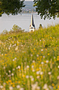 Switzerland, Berlingen, View of church with meadow and Lake Constance - SH000609