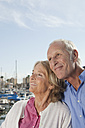 Spain, Mallorca, Palma, Senior couple at harbour, smiling - SKF000822