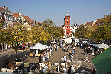 Germany, Thuringia, Gotha, People at arts and crafts market - WD001161