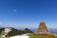 Germany, Bavaria, Stack of wood for easter fire on mountain - FOF003846
