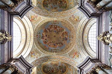 Austria, Lower Austria, Mostviertel, Herzogenburg, View of Collegiate Church with fresco painting - SIE002216