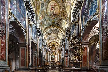 Austria, Lower Austria, Mostviertel, St. Poelten, View of Dom Maria Himmelfahrt Cathedral with fresco painting - SIE002217