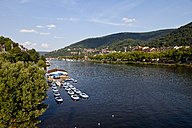 Germany, Baden Wuerttemberg, Heidelberg, View of boats for hire at Neckar River - CSF015744