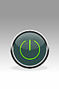 Green button showing switch symbol, close up - CSF015776