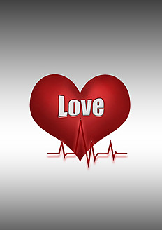 Heart symbol with line graph and text love against grey background - CSF015814