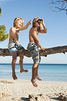 Spain, Mallorca, Children sitting on tree - MFPF000073
