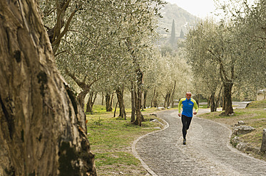 Italy, Mature man jogging on trail - MIRF000397