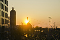 Germany, Bavaria, Munich, Main station during sunset - LFF000424