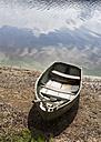 Czechoslovakia, Fishing boat moored at lakeside - WWF002327