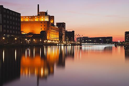 Europe, Germany, North Rhine Westphalia, View of Duisburg Inner Harbour with Werhahnmuhle - GWF001761