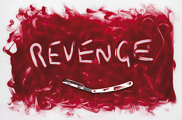 Revenge text written in blood with razor on white background - MUF001209