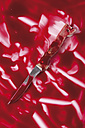 Knife in blood on white background - MUF001211