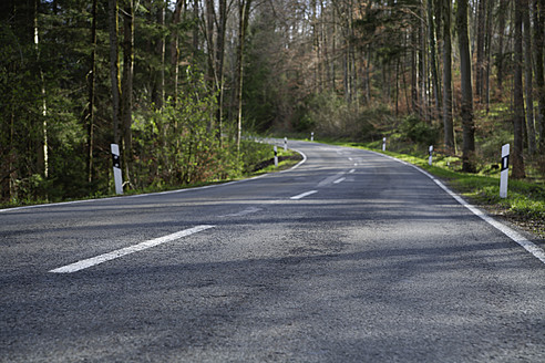 Germany, Bavaria, Empty forest road in spring - TCF002550