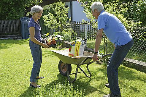 Germany, Bavaria, Senior couple gardening plants - TCF002619