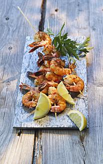 spain, Grilled prawn skewers with lemon - KSWF000845