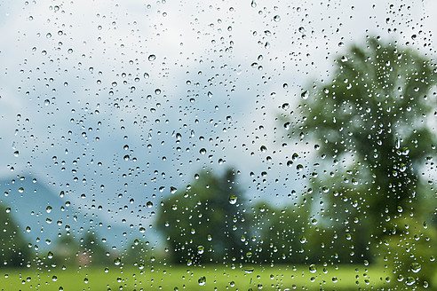 Austria, Raindrops on window - WVF000241