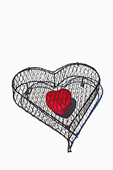 Heart shape cage made by wire with red heart on white background, close up - AXF000093