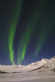 Norway, Troms, View of Aurora Borealis near Tromso - RUEF000916