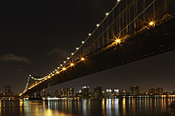 USA, New York, View of Manhattan Bridge at night - TLF000676