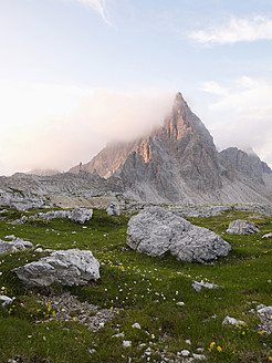 Europe, Italy, View to mountain Paternkofel at National Park of Sesto Dolomities - BSCF000118