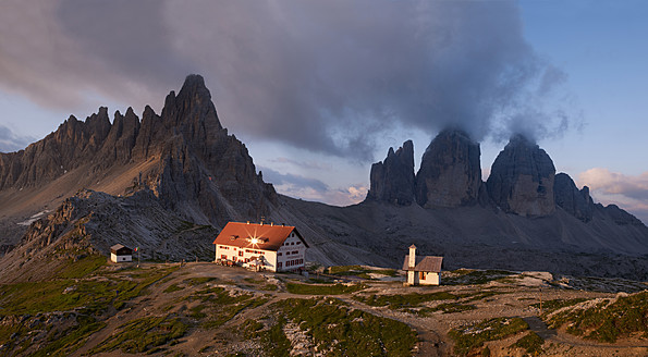 Europe, Italy, View of Tre Cime di Lavaredo at National Park of Sesto Dolomities - BSC000129