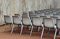 Germany, Dresden, Row of chairs for open air event - LRF000547