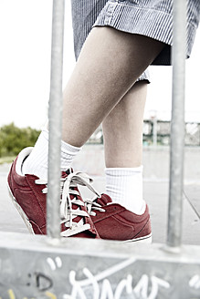 France, Boy standing on skate park - MSF002736