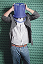 Young man with bucket on his head - WBF001468