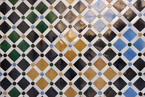 Spain, Andalusia, Granada, Colourful tiles at Alhambra - KAF000004
