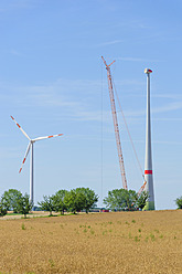 Germany, Saxony, Construction of wind wheel with crane - MJF000064
