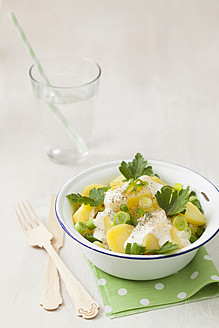Potato salad garnished with spring onions, parsley and mayonnaise, close up - ECF000035