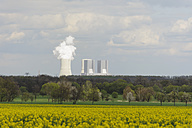 Germany, Saxony, View of landscape with coal power plant - MJF000123