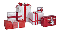 Christmas gift box on white background, close up - WBF001587
