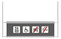 Lift, wheel chair, no trolleys, non smoking on information plate, close up - WBF001608