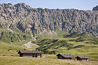 Italy, View of Seiser Alm, alpine meadow and alpine huts, Roterdspitz in background at South Tyrol - UMF000402