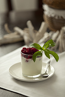 Glass of cream with raspberry and stevia, close up - KRF000021