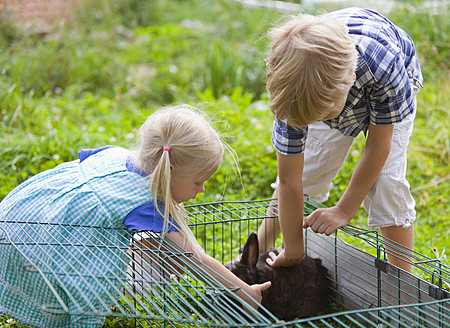 Germany, Bavaria, Boy and girl petting rabbit in garden - HSIYF000082