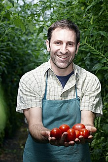 Germany, Bavaria, Munich, Mature man holding tomatoes in greenhouse - RREF000046