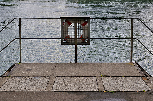 Switzerland, Lifebelt stuck on railings at Stein am Rhein - AXF000321