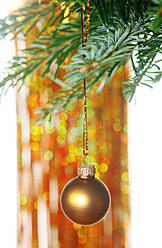 Germany, Christmas bauble hanging to tree, close up - JTF000176