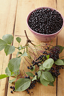 Bowl full of elderberries with branch on wooden table - ECF000120
