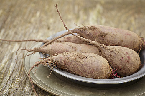 Beetroots in plates on wooden table - ECF000098