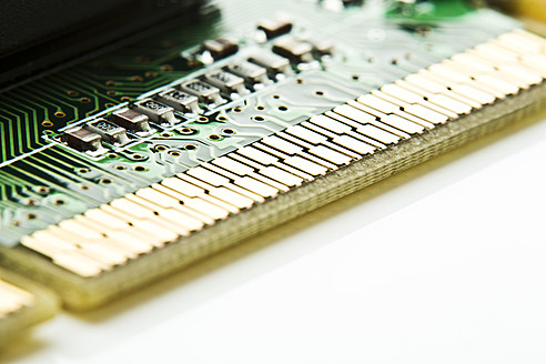 Close up of computer graphic board on white background - MAEF005223