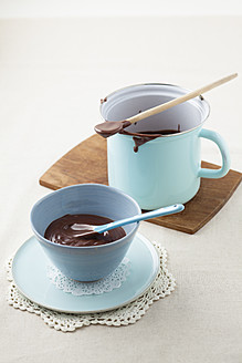 Chocolate pudding with custard in bowl and cup - ECF000139